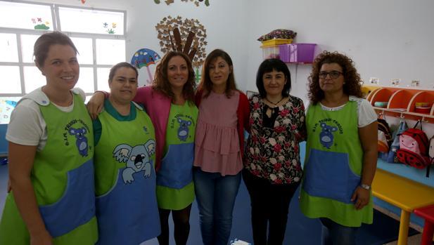 Sonia Brenes con Aurora Ruiz y parte del equipo de Educación de la UCA.