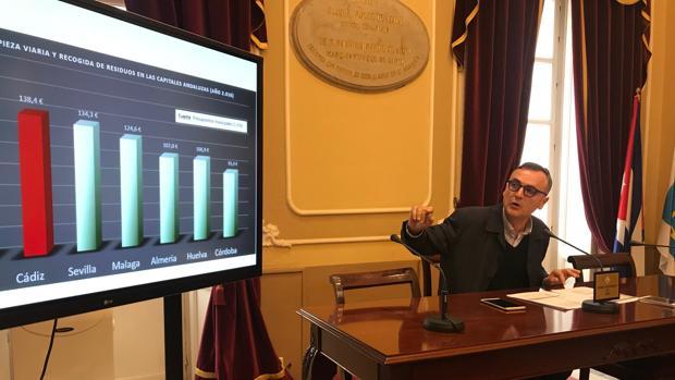El concejal socialista Juan Cantero, en rueda de prensa.