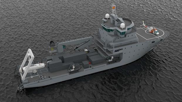Maqueta del prototipo del nuevo BAM logístico que quiere la Armada