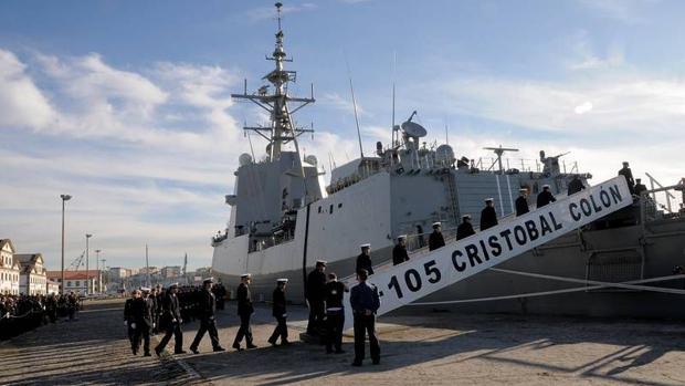 Imagen de la fragata F-105 'Cristóbal Colón' en Ferrol