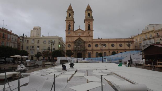 La pista de hielo, en la Plaza de San Antonio de Cádiz