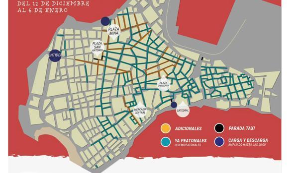 Plano del centro con las calles que permanecerán cerradas al tráfico durante las fiestas de Navidad.