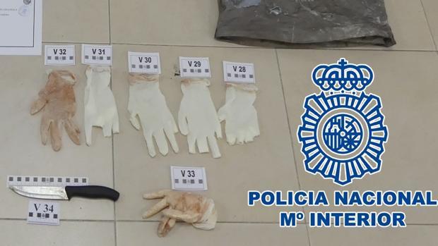 Cuchillo y guantes, supuestamente usados en el crimen.