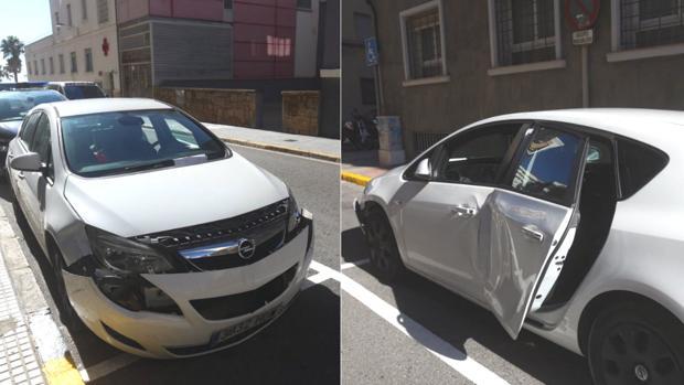 El Opel que usaron los ladrones y con el que chocaron con la Policía.