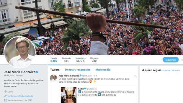 Kichi suele escribir asiduamente en Twitter sobre carnaval, política y fútbol