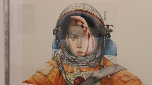 Tintín en la luna, visto por el artista sevillano Julio Serrano