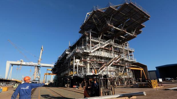 Plataforma para la subestación eléctrica del complejo Wikinger. construida en Puerto Real