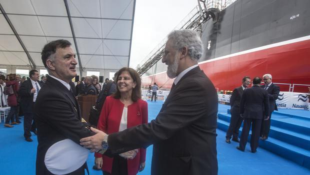 La presidenta de la SEPI, Pilar Platero, durante la entrega del petrolero 'Monte Udala', el pasado martes en Puerto Real