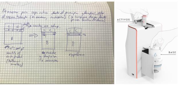 A la izquierda, boceto de la máquina; a la derecha, el diseño final.