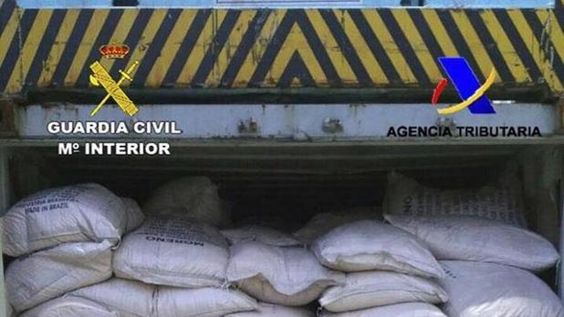 Imagen de archivo de un alijo de 280 kilos de cocaína en un contenedor en Algeciras