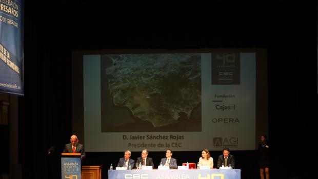 Momento del discurso del presidente de la CEC, Javier Sánchez Rojas