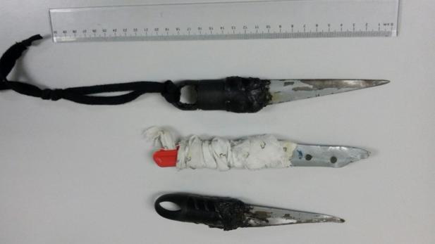 Imagen de pinchos intervenidos a presos en Puerto III.