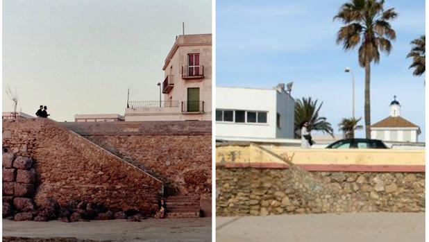 El antes y el después de la escalera que da acceso a la playa Victoria desde la regeneración de 1991