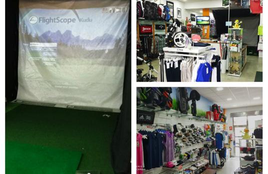 Instalaciones de Golf Estudio, con el simulador a la izquierda