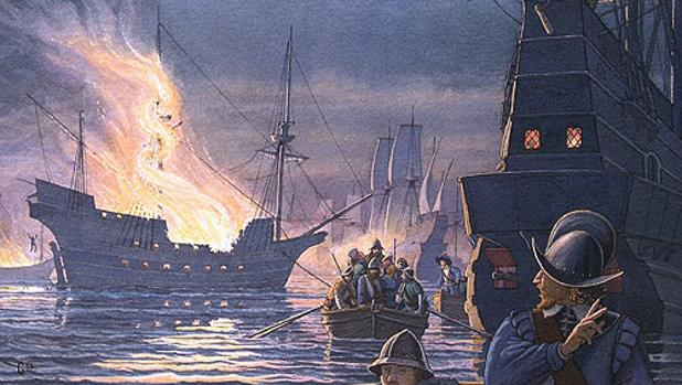 Pintura del ataque del pirata Francis Drake en las costas de Cádiz.