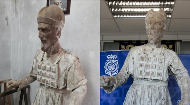 La talla del profeta. A la izquierda, en el taller. A la derecha, ya en la Comisaría.