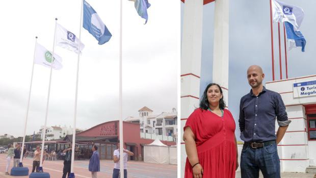 Momento del izado de las banderas en Chiclana y Cádiz