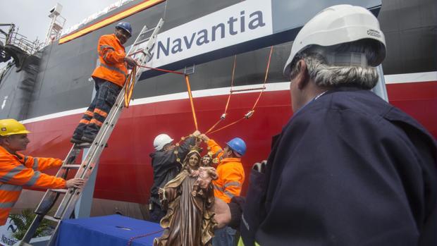 Acto de entrega del 'Monte Udala' el pasado marzo en el astillero de Puerto Real