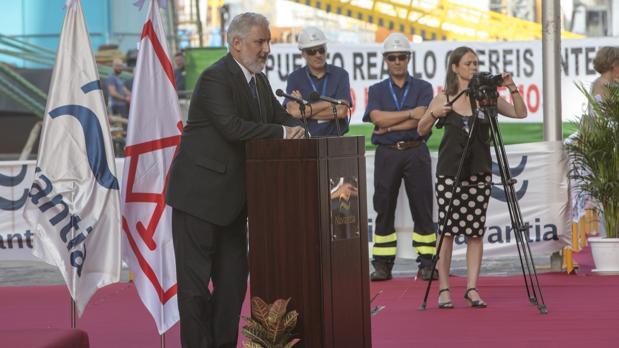 El presidente de Navantia, Esteban García Vilasánchez, durante el discurso que pronunció en el acto de enrtrega del 'Monte Urbasa'