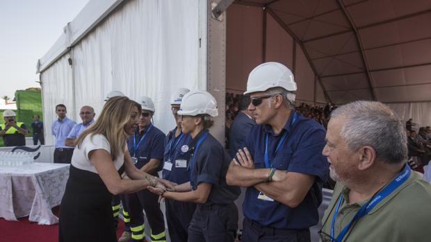 Susana Díaz, en el astillero de Puerto Real el pasado martes