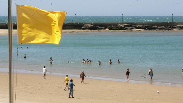 La bandera amarilla ondeará en muchas playas de Cádiz.