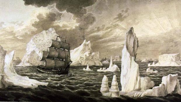 Ilustración del San Telmo en las costas heladas de la Antártida.