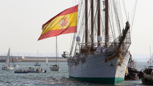 El Juan Sebastián de Elcano a su llegada a Cádiz el pasado 11 de agosto.
