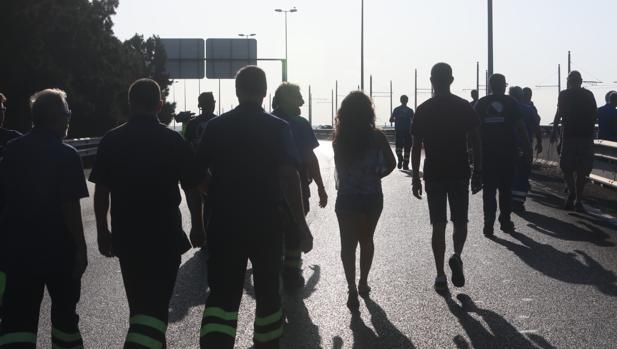 Imagen de la movilización de los trabajadores el pasado martes.