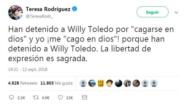 Una captura del tuit de Teresa Rodríguez.