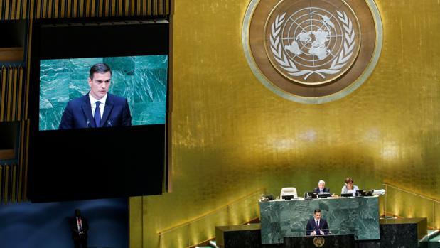 El presidente del Gobierno, Pedro Sánchez en la Asamblea General de la ONU
