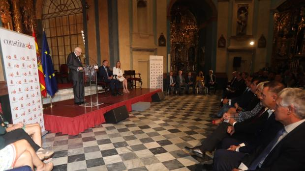 Pérez-Llorca en su intervención en el homenaje a la comunidad iberoamericana por los 40 años de la Constitución.