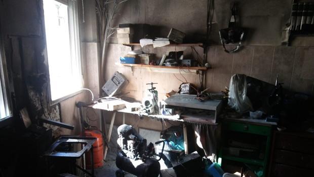 Estado en el que ha quedado el taller de joyería y relojería
