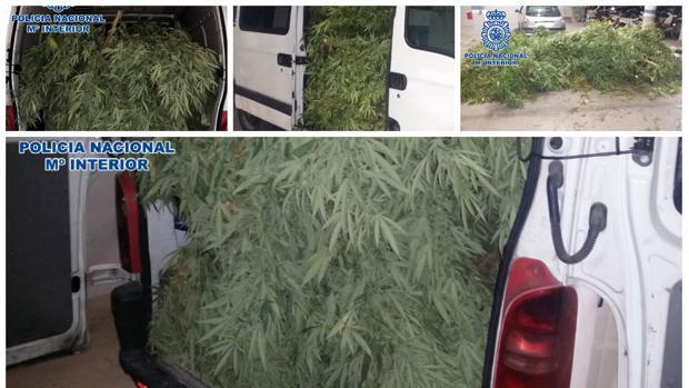 El vehículo aún cargado con la marihuana