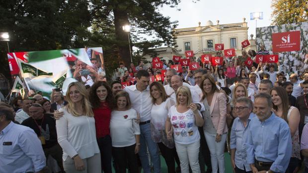 Foto de familia del PSOE en Jerez en la campaña de las generales de junio de 2016