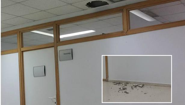 El falso techo ha cedido por el agua
