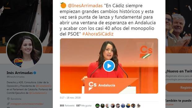 Un extracto de la intervención de Arrimadas en su Twitter.