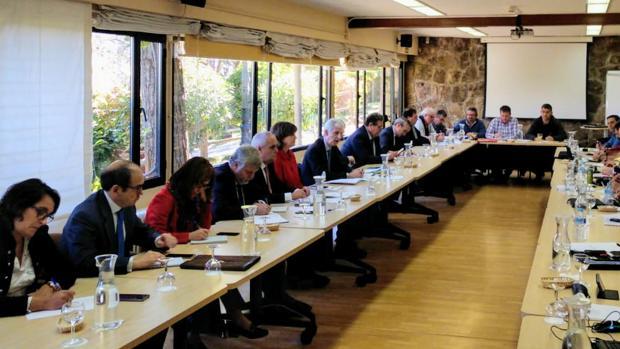Momento de la reunión mantenida el martes en Madrid entre la dirección de los astilleros y los sindicatos
