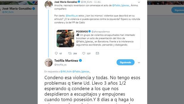 Teófila Martínez y José María González 'Kichi' trasladan su batalla política a Twitter.