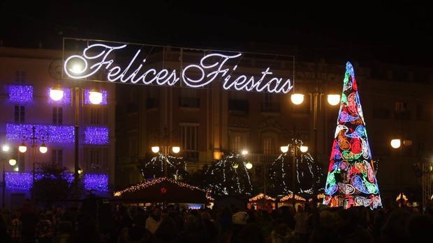 El día de la inauguración del alumbrado de Navidad en Cádiz.