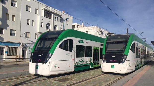 Pruebas de los trenes del tranvía de la Bahía de Cádiz