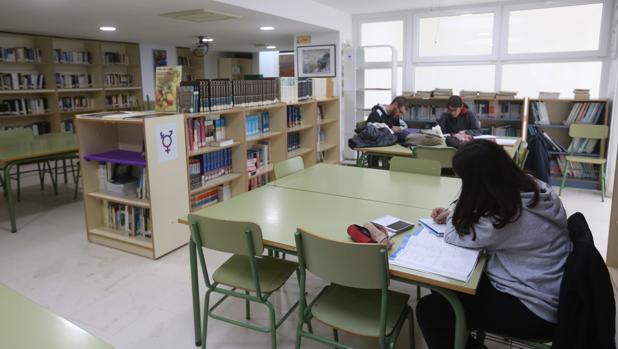 Varios alumnos estudian en la biblioteca del IES Drago de Cádiz