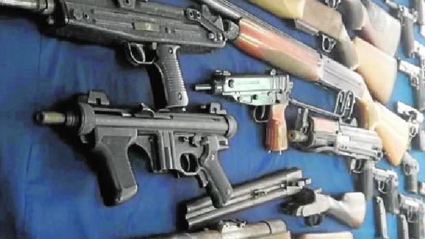 Algunas de las armas intervenidas en una finca de San Roque hace unas semanas.