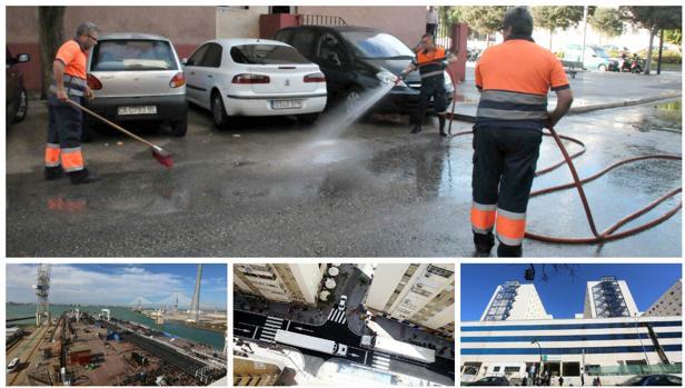 Trabajadores de Aguas de Cádiz arreglan una red de suministro