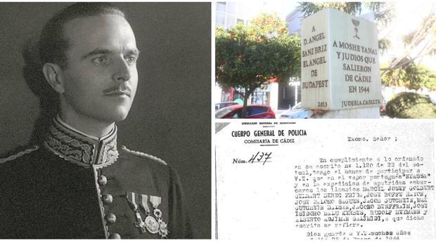 Ángel Sanz Briz, placa en Cádiz y documentación de 1944