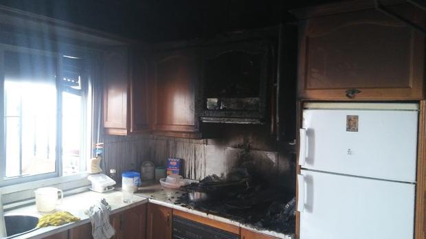 Estado en el que quedó la cocina.