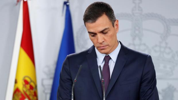 Pedro Sánchez, durante su comparecencia, este viernes en el Palacio de la Moncloa, en la que ha anunciado la disolución de las Cortes y la convocatoria de elecciones generales para el próximo 28 de abril.