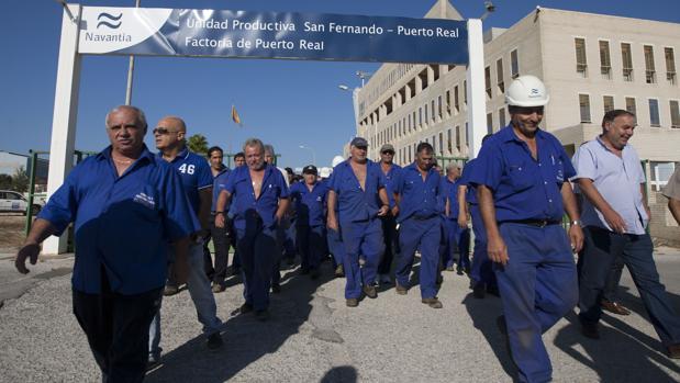 Imagen de archivo de una de las movilizaciones de la plantilla de Puerto Real