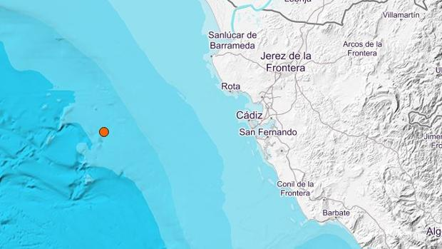Registrado un terremoto de magnitud 3.1 en el Golfo de Cádiz