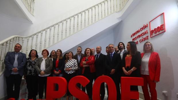 El ministro del Interior, Fernando Grande-Marlaska,en la sede del PSOE de Cádiz.