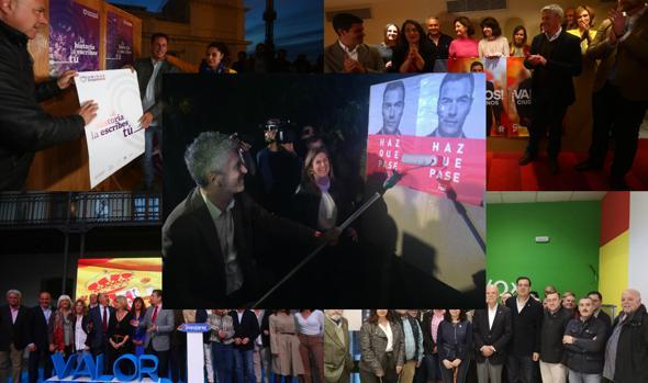 Imagen con la pegada de carteles de Unidas Podemos, Ciudadanos, PP, Vox y, en el centro, PSOE.